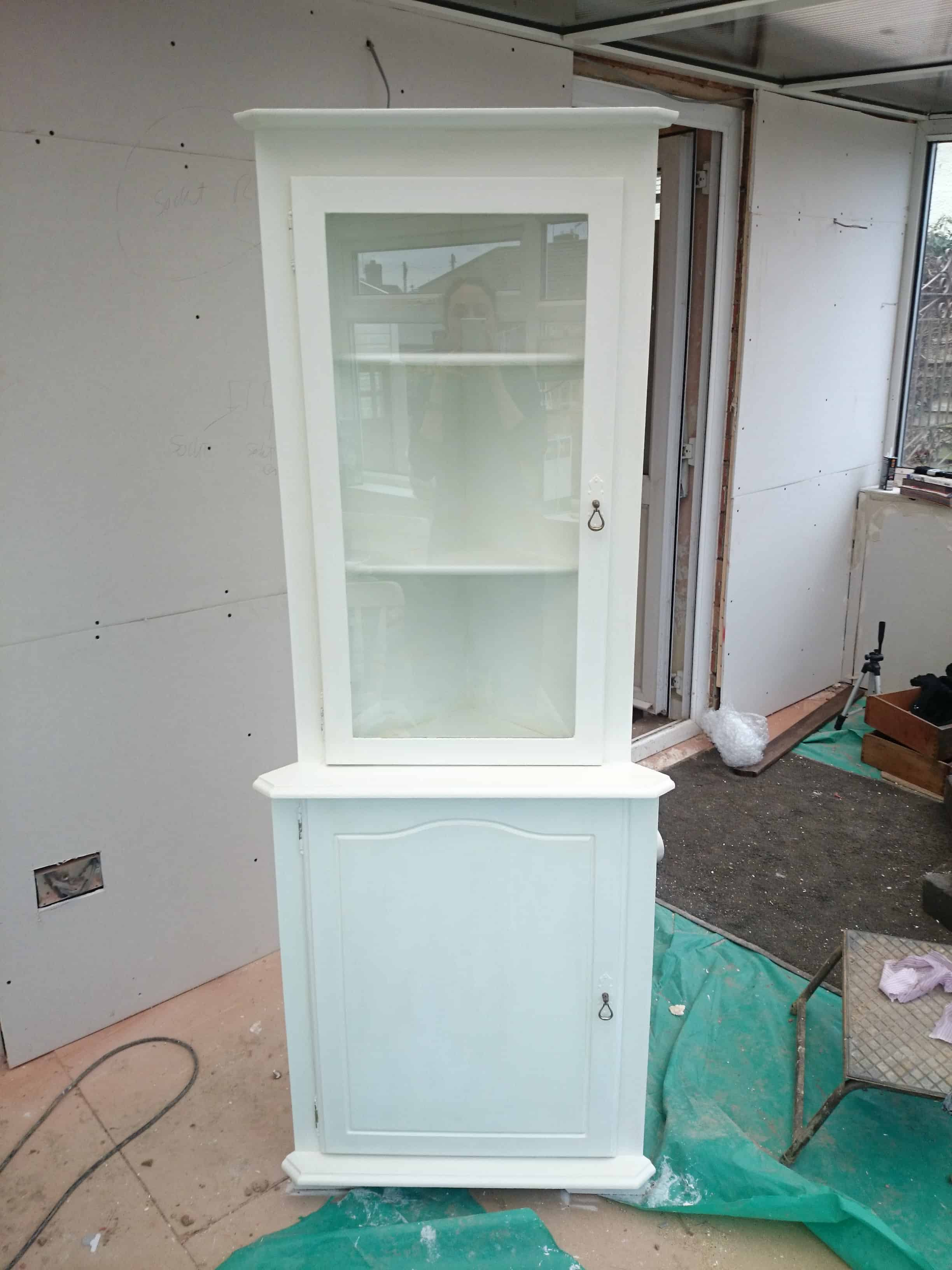 Painting a Glass/Wood Display Corner Cabinet for my Youtube Channel