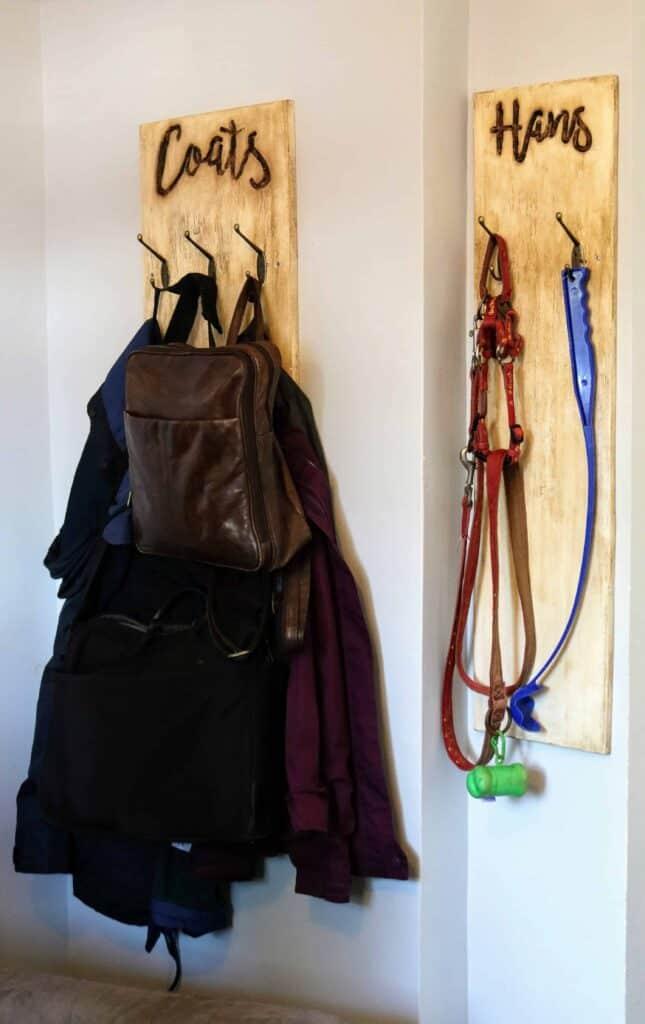 DIY Coat Hook & Dog Leash Holder With Font