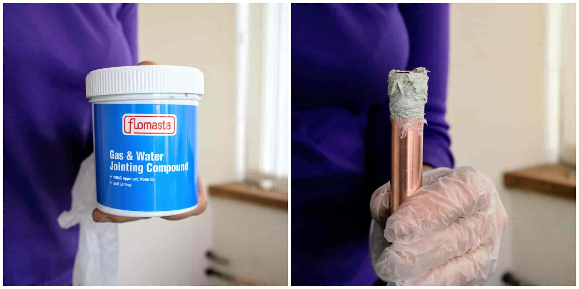 using gas & water jointing compound on copper pipe for isolation valve