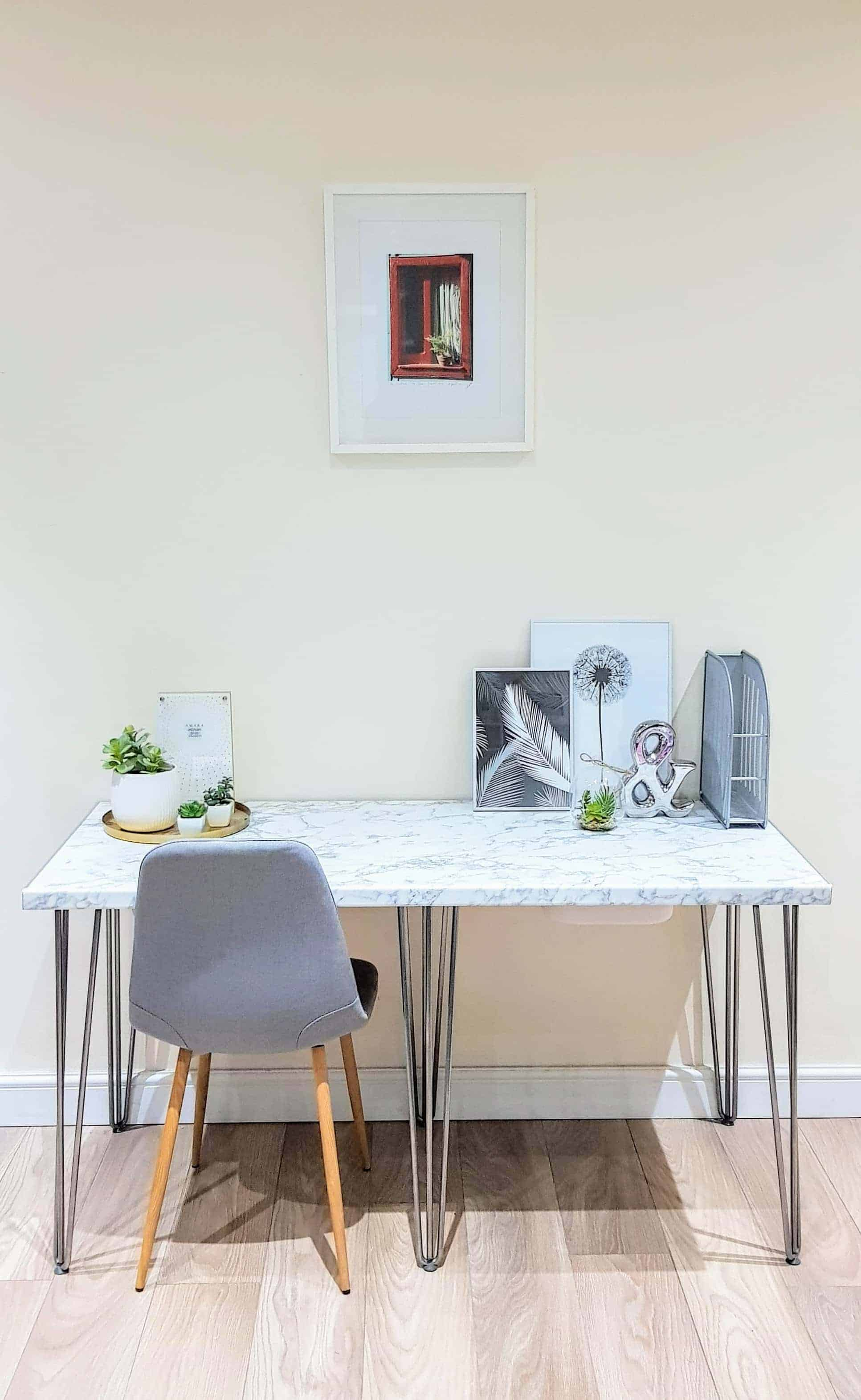 How to Make a Marble Laminate Desk with Hairpin Legs