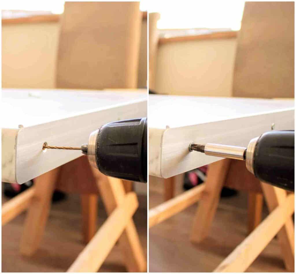 Wondrous Faux Marble Desk Tutorial With Laminate The Carpenters Home Interior And Landscaping Ponolsignezvosmurscom