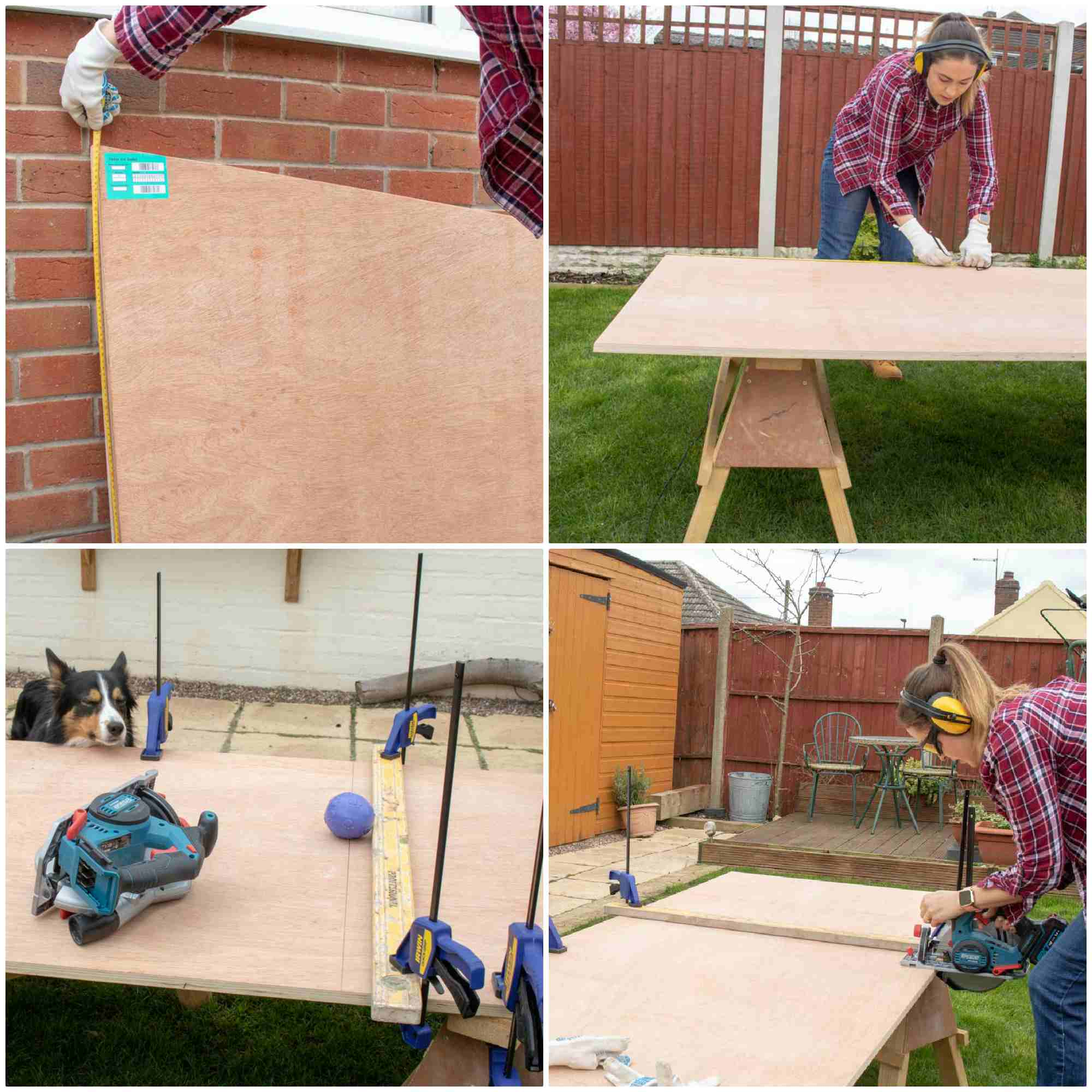 measuring and cutting side panels for sloping plywood dog kennel