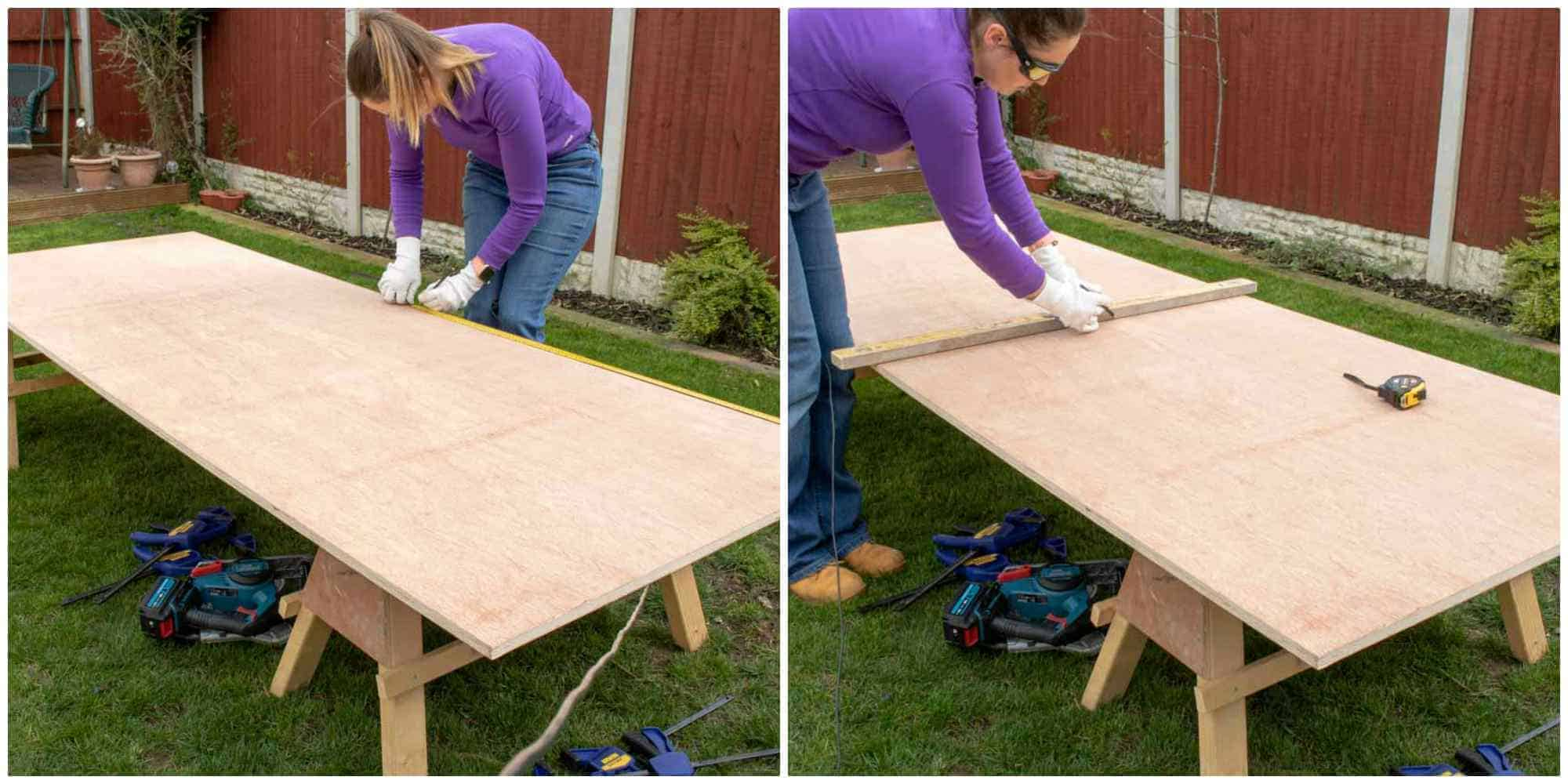 woman measuring plywood before cutting on sawhorses