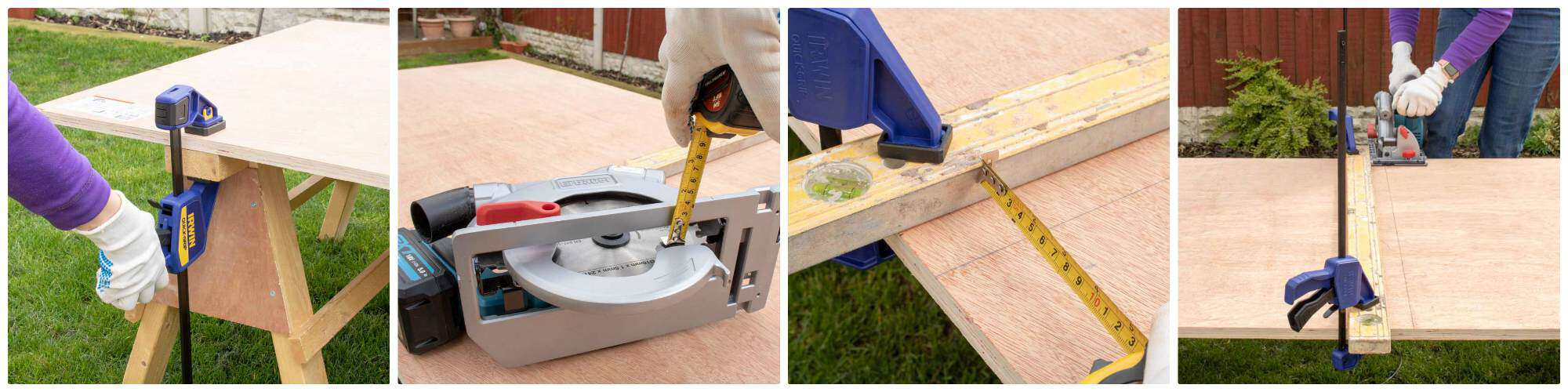 clamping wood and measuring circular saw fence before cutting