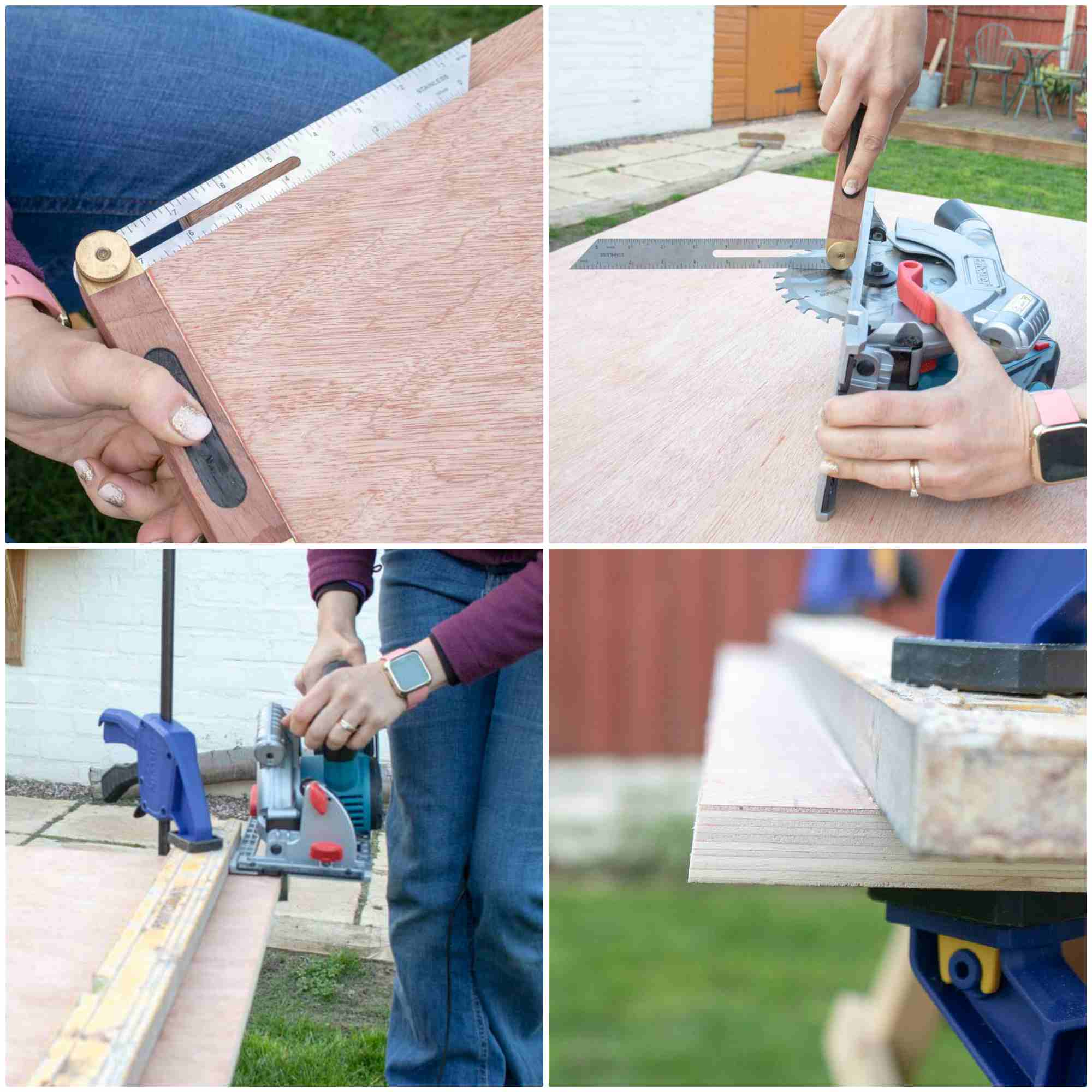 cutting bevel edge with Erbauer's cordless circular saw