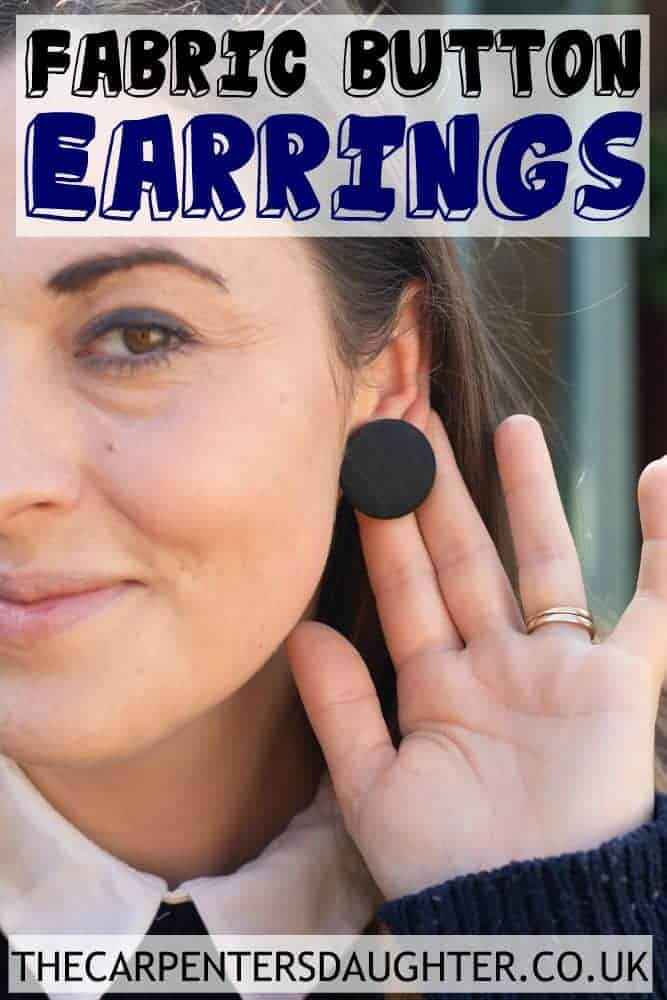 fabric button earrings close up for Pinterest