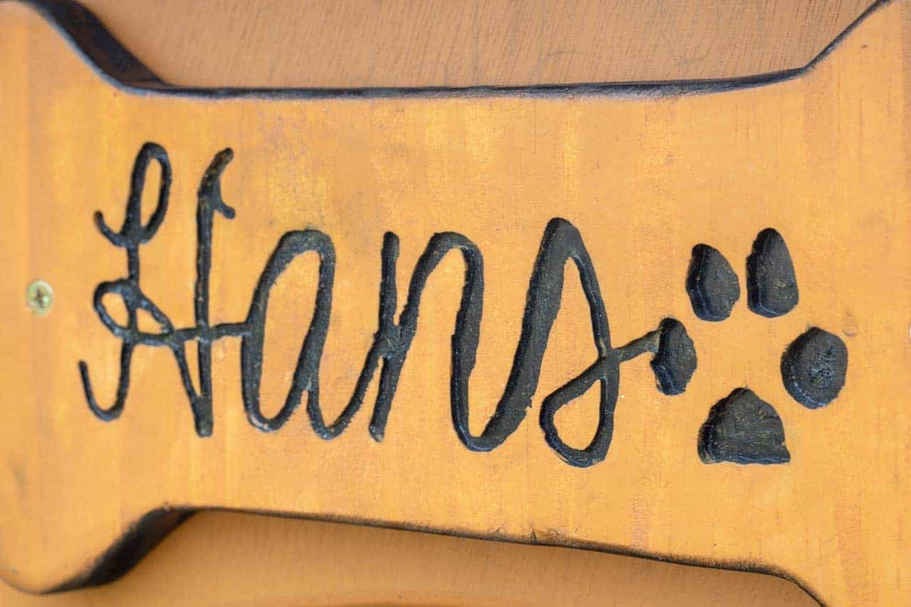 Personalised Hans dog kennel plaque with routered paw print