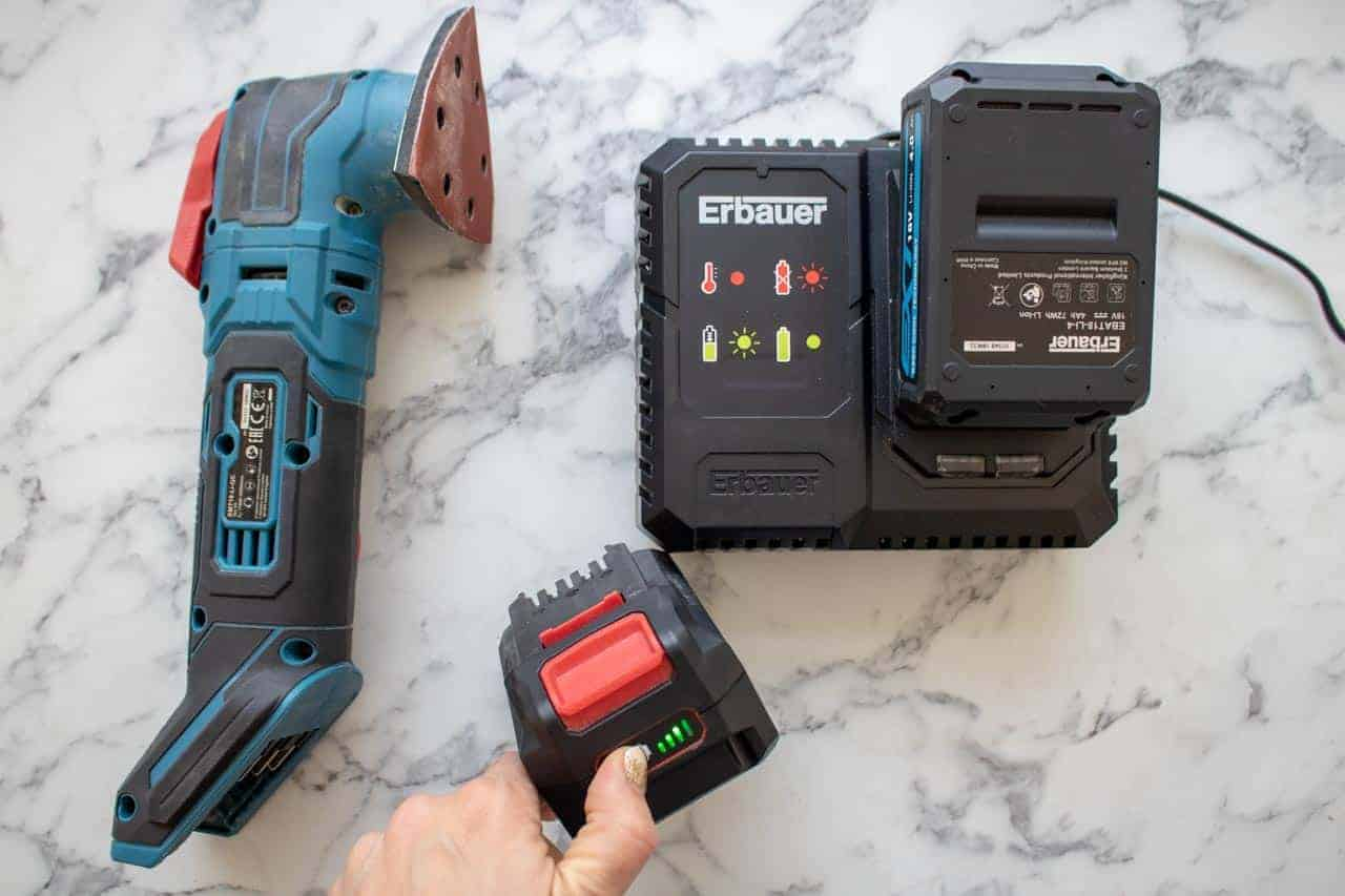 Fast charging Erbauer's power tool batteries.