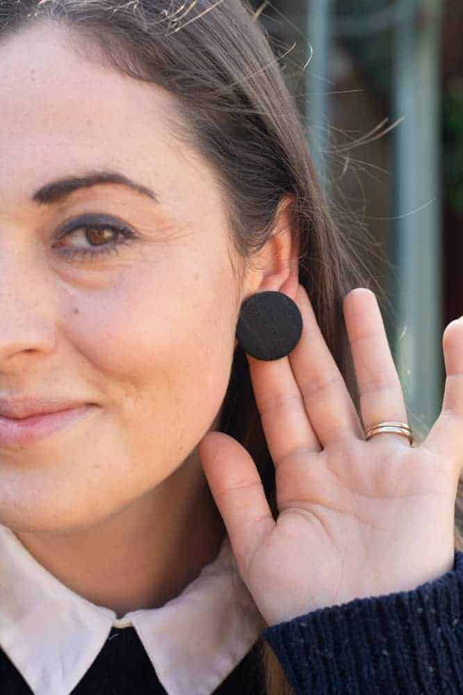 pinstripe DIY button fabric earrings