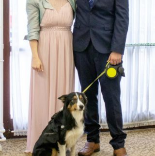 Bride & Groom at their dog friendly wedding