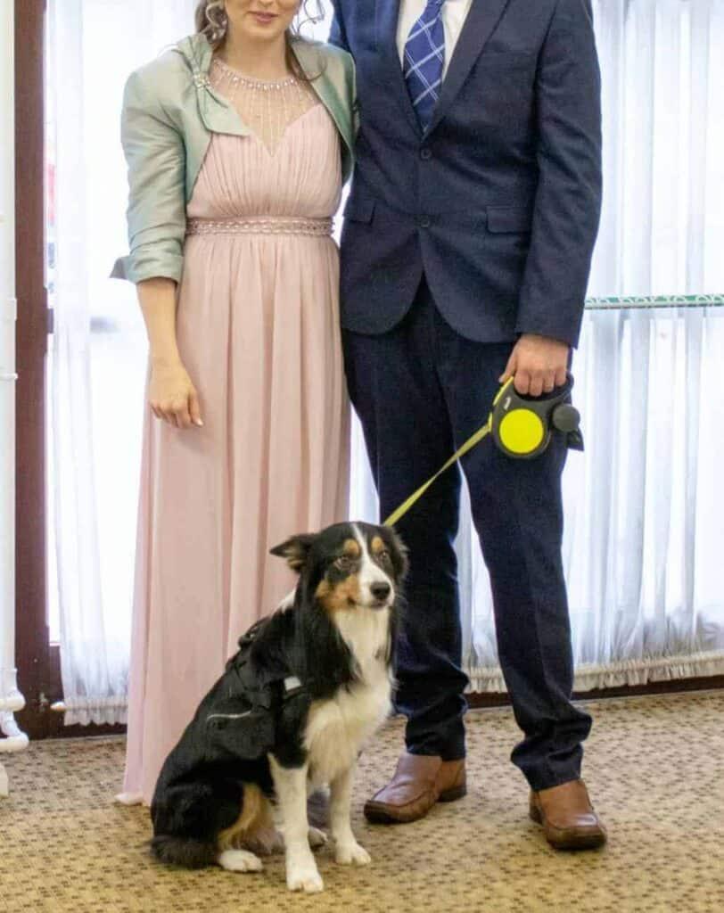 Bride & Groom at their dog friendly wedding