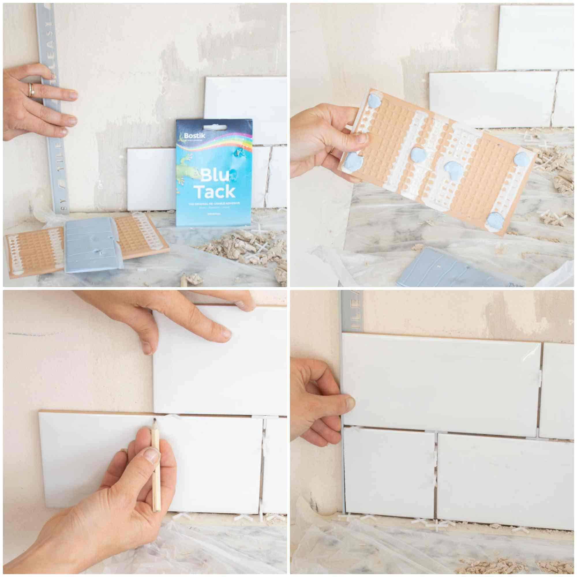 doing a dry lay with tiles and blu tack