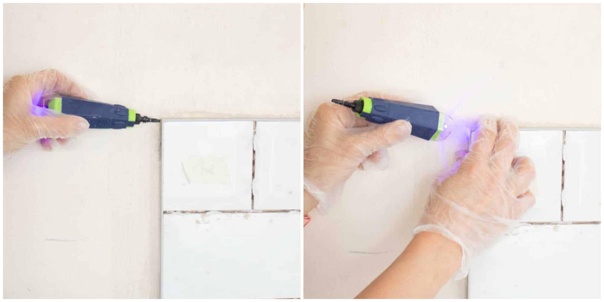 clamping tile trim mitre trim with Bostik Fix & Flash