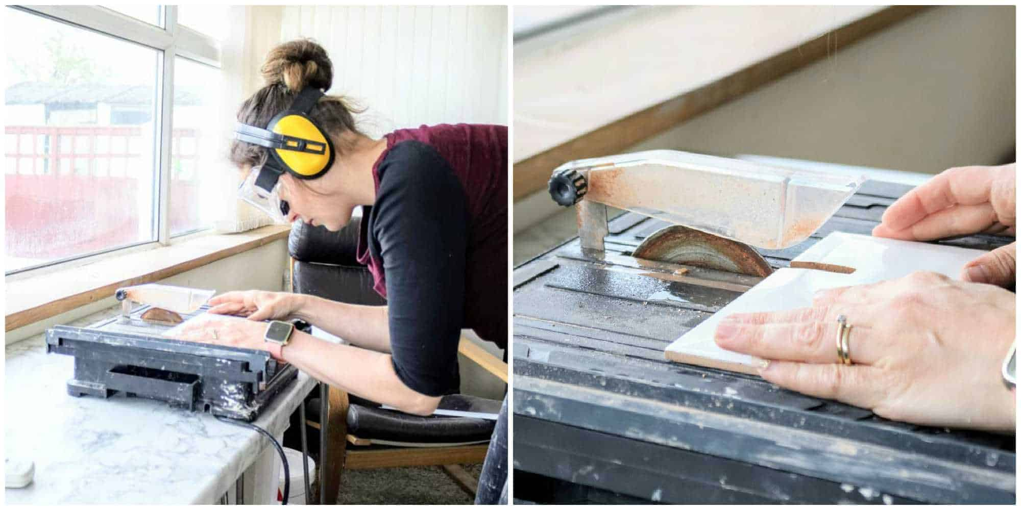 woman using a wet tile cutter with diamond blade.