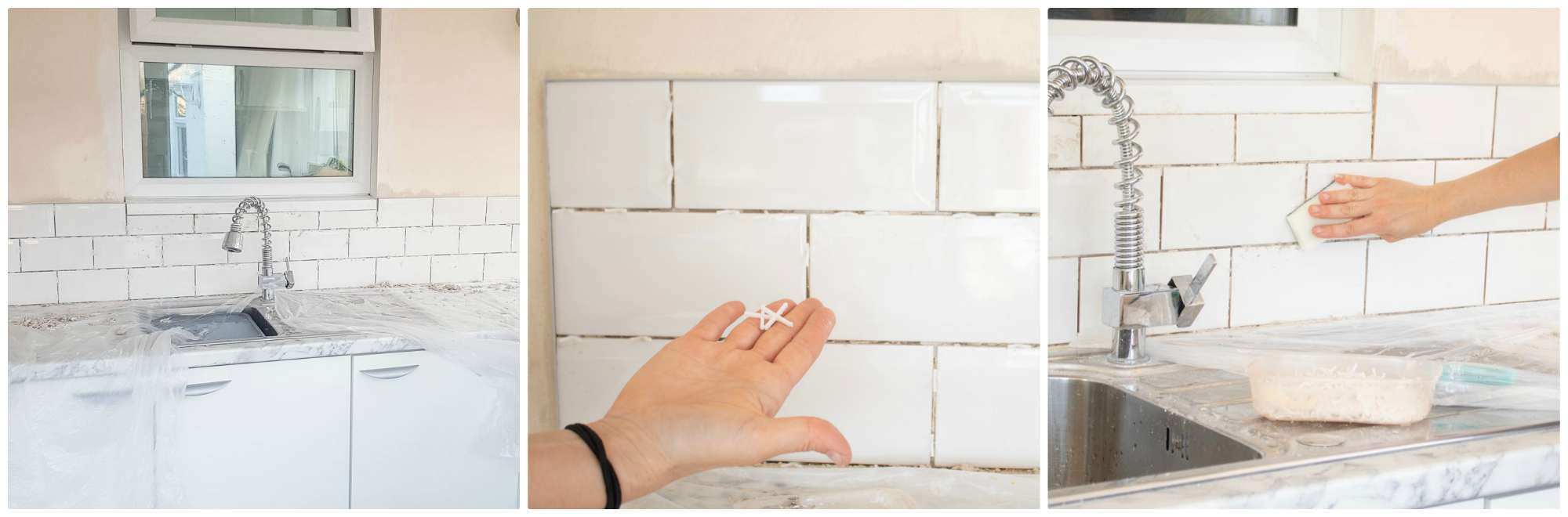 removing tile spacers and cleaning adhesive with scourer