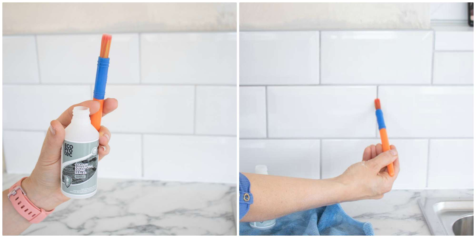 sealing grout between tiles using a paint brush
