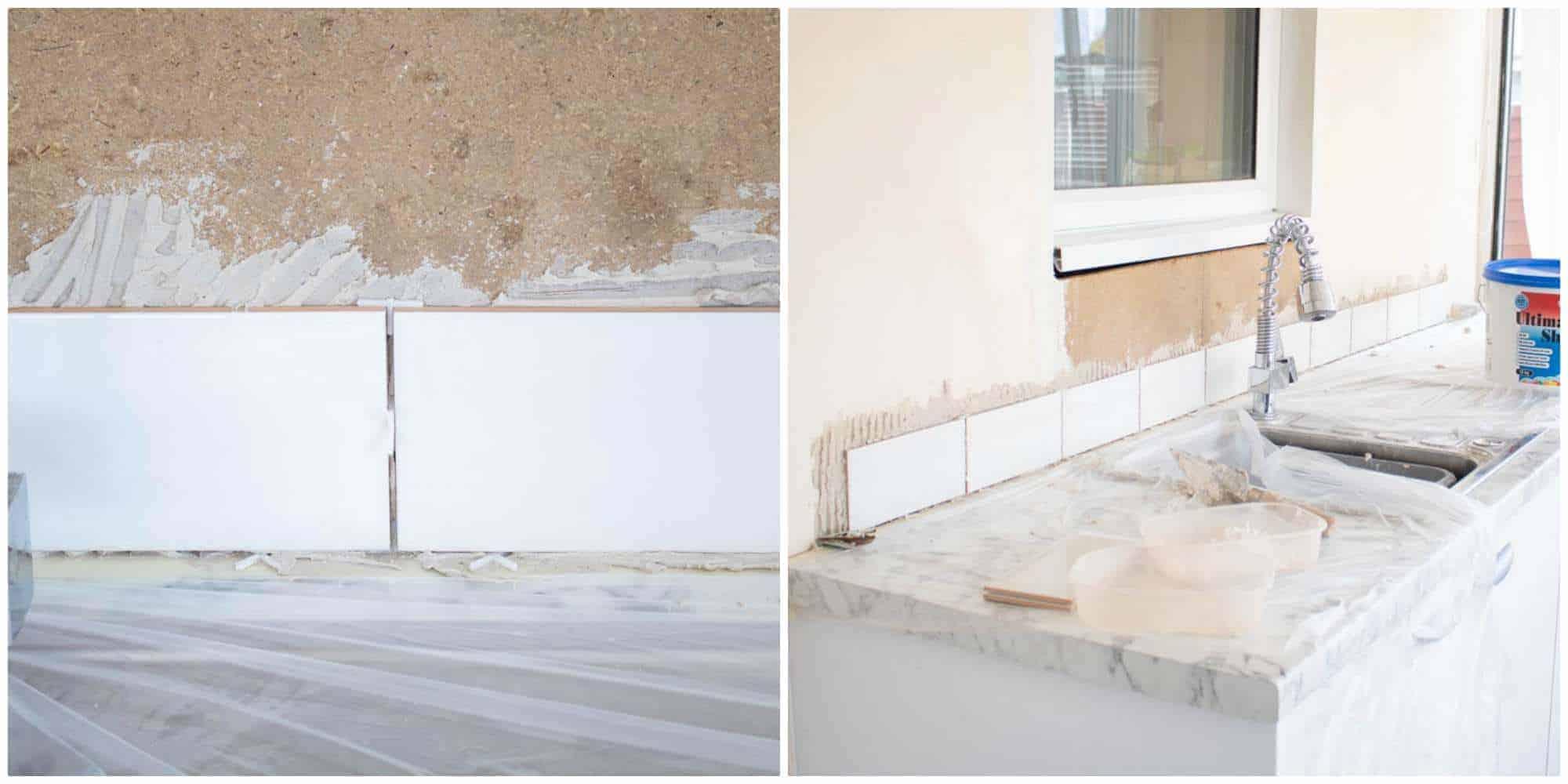 applying tiles for kitchen splashback behind sink