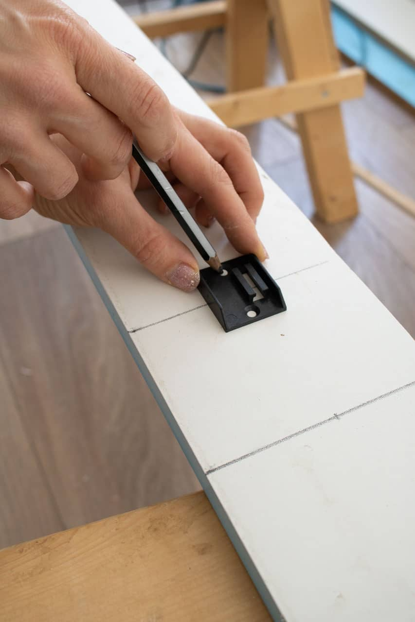marking screw holes for kitchen plinth mounting plate