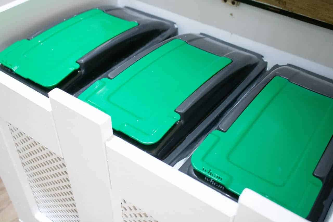 3 x 25L Wham green lidded recycling bins for general waste, plastic, metal, glass and cardboard or paper