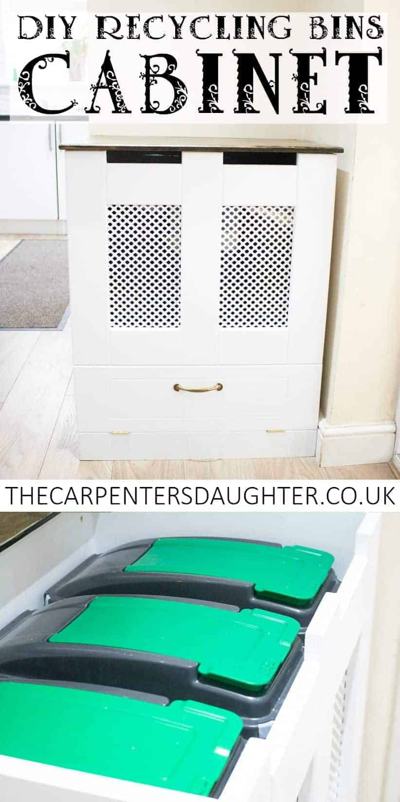 Pinterest pin of DIY recycling bins cabinet and close up of inside
