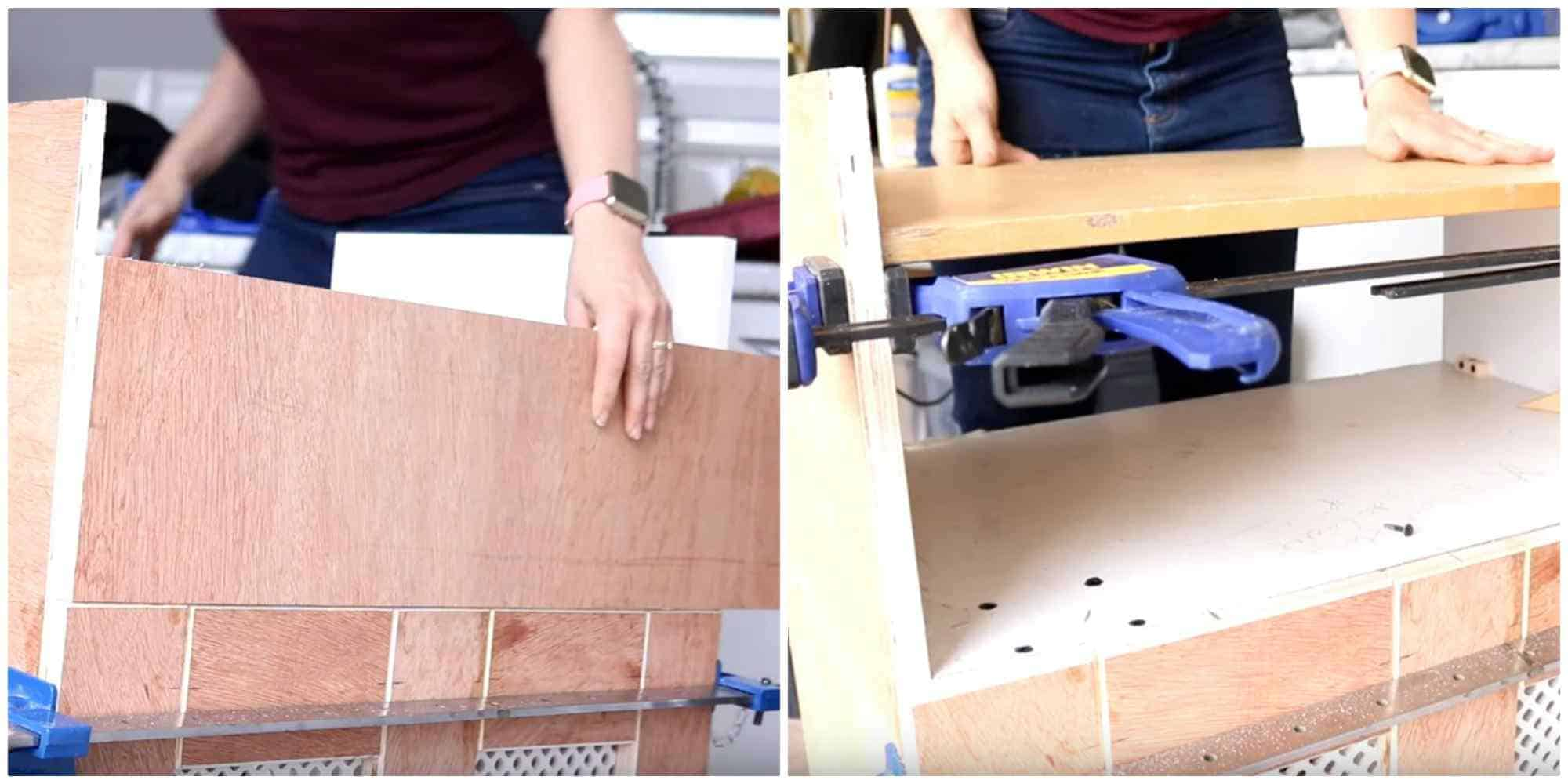 planning where to position recycling bin storage shelf and using clamps to prop it up