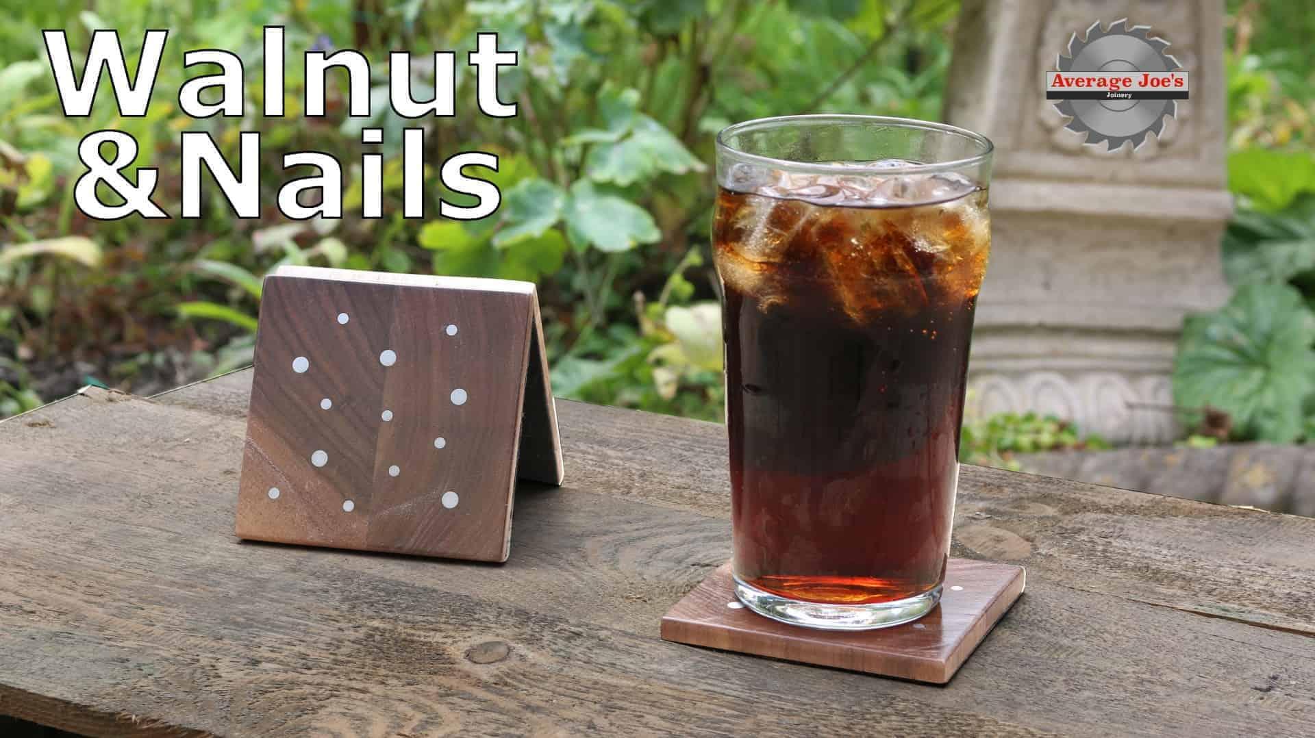 DIY walnut and nail coasters