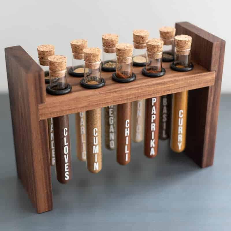 DIY walnut test tube spice rack