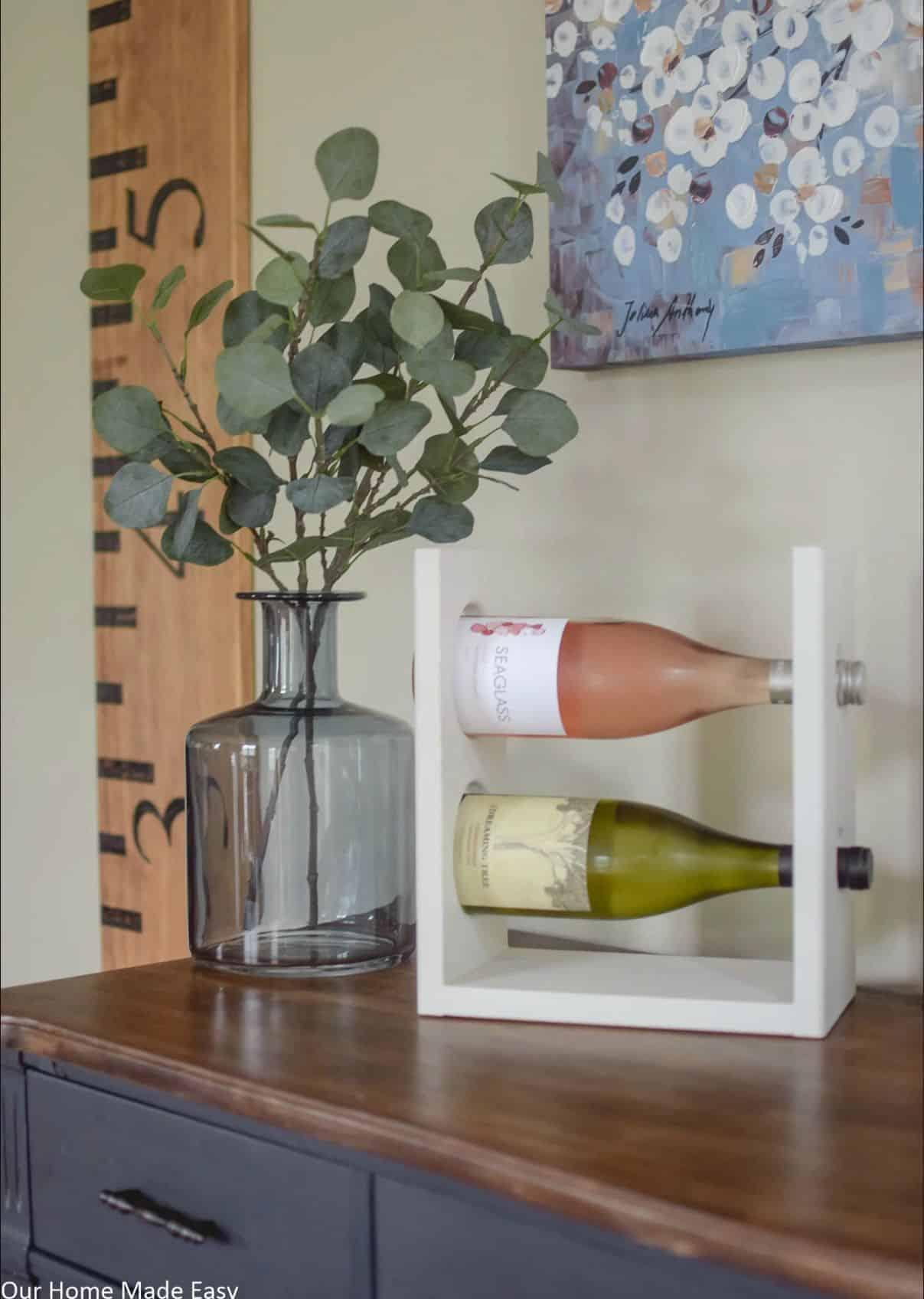 DIY wine rack for two bottles