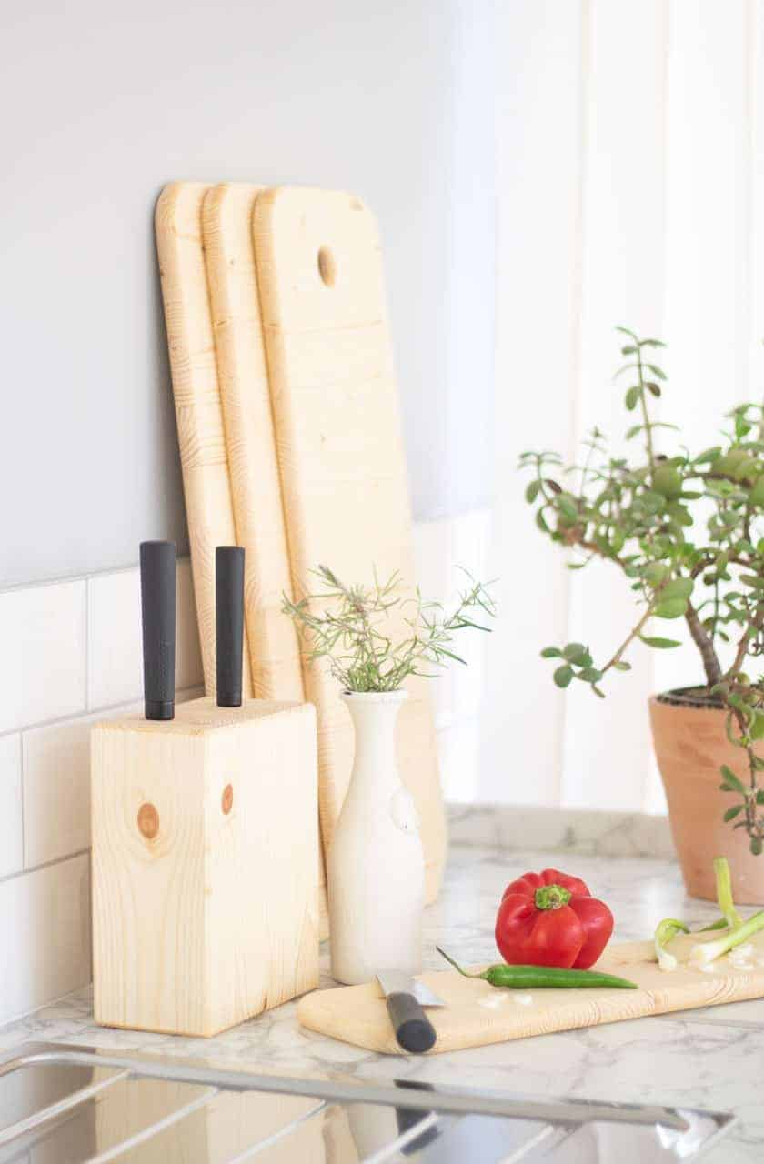 Using knife block set for chopping vegetables