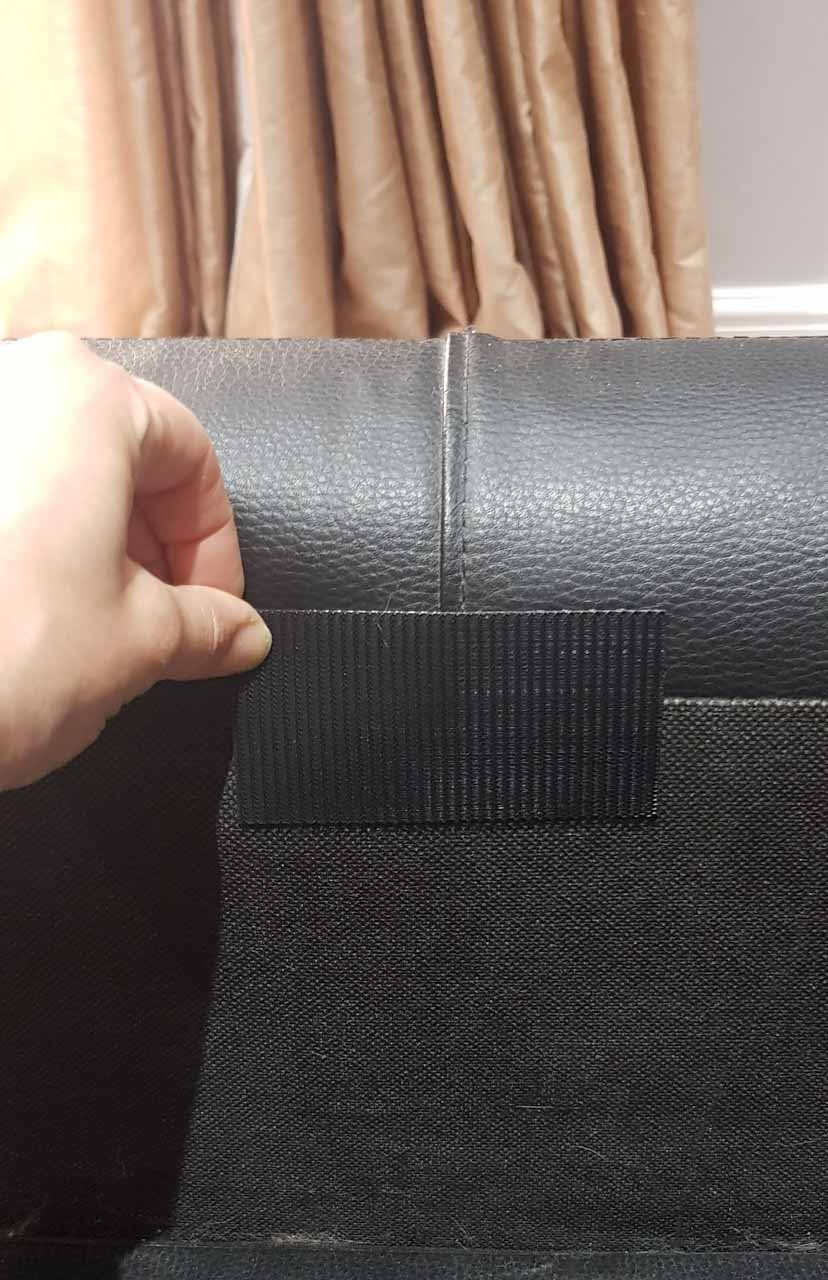 velcro hook strap attached to sofa