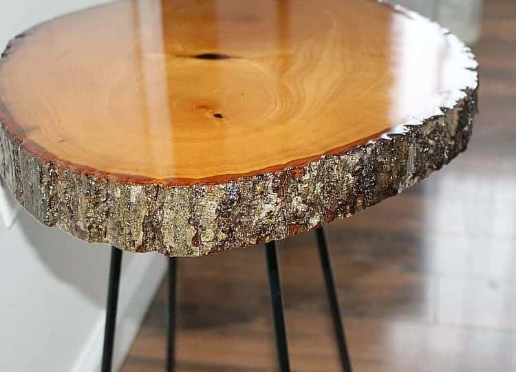 wood slice with resin and live edge side table