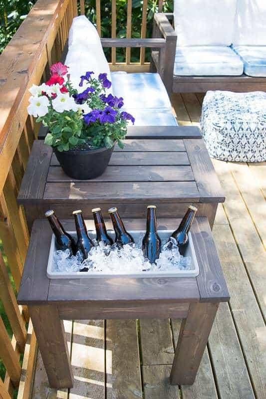 outdoor built in ice bucket unusual side table