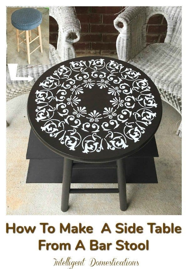 Upcycled bar stool as an unusual side table
