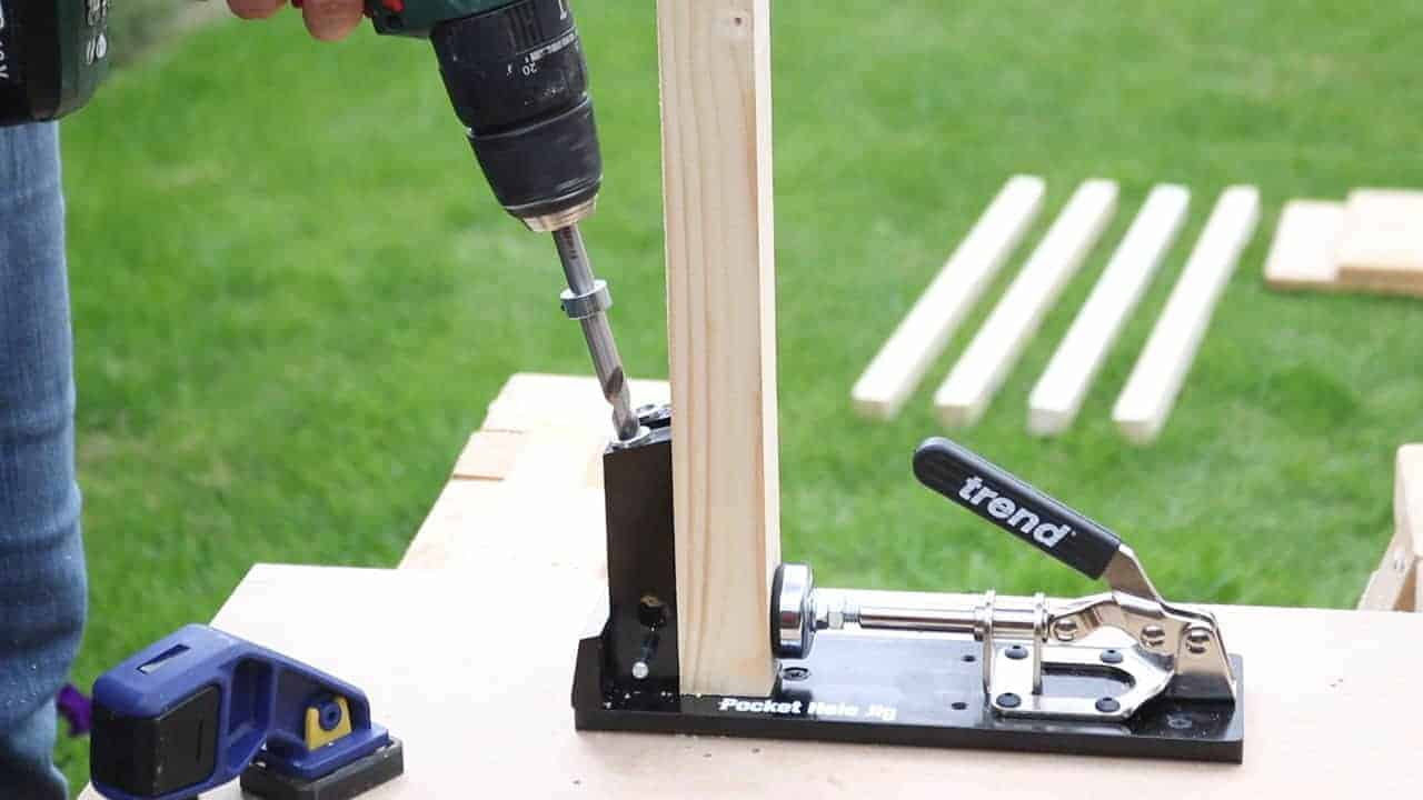 Drilling pocket holes using the Trend pocket hole jig