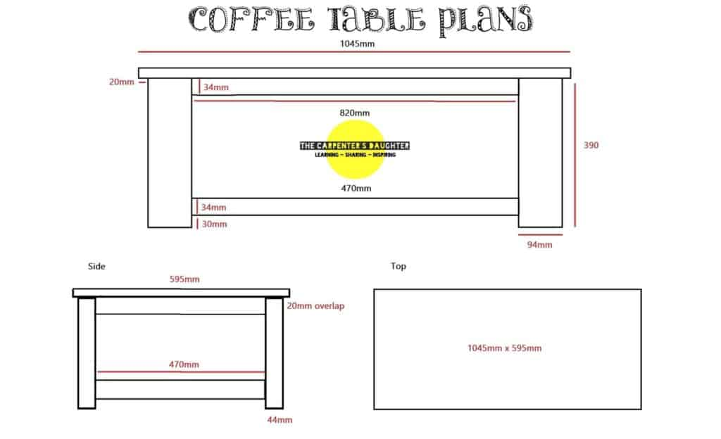 Free set of plans for DIY wood coffee table plans