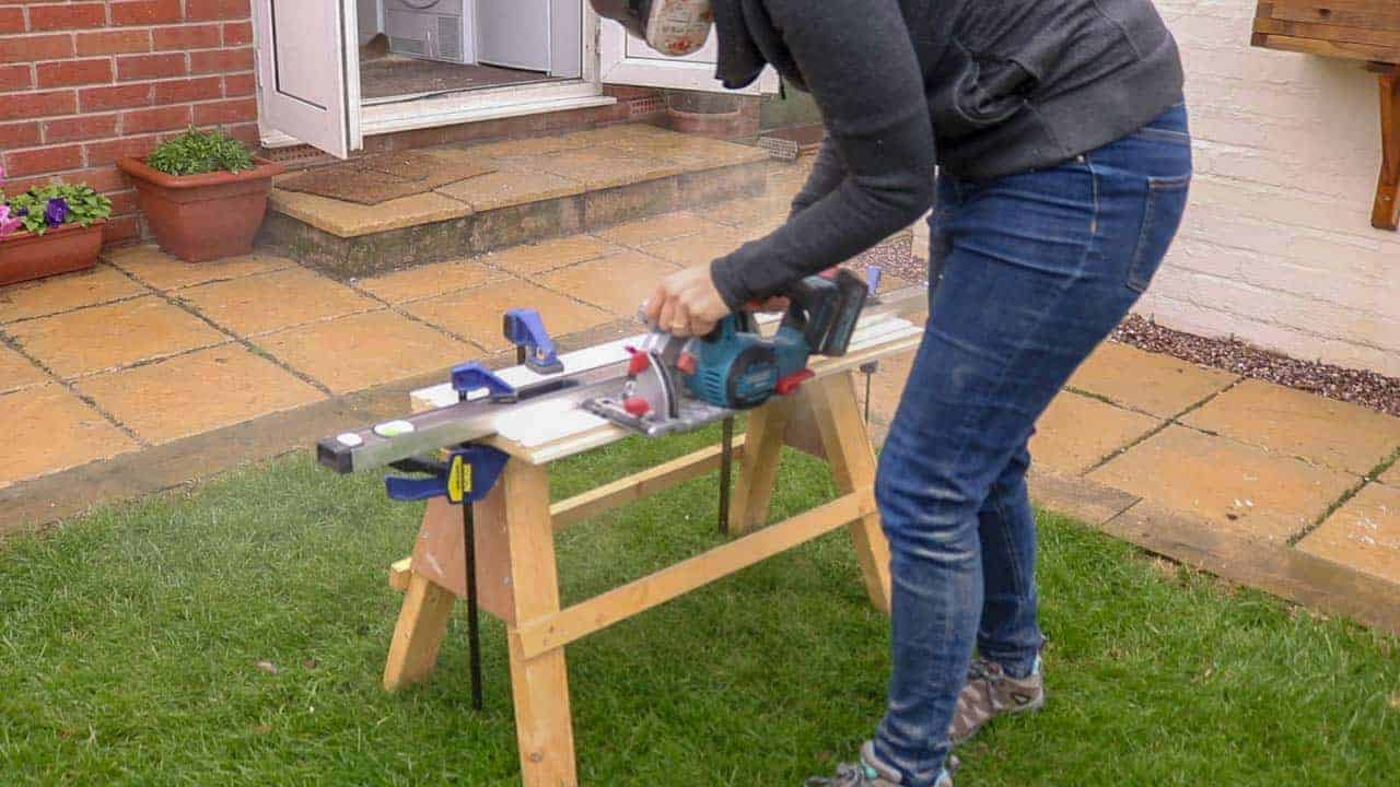 cutting rebate edge with circular saw from off cut