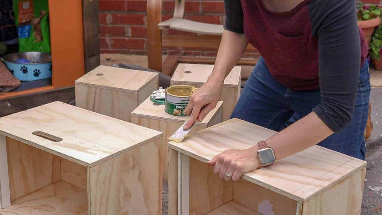 filling over nail heads with wood filler