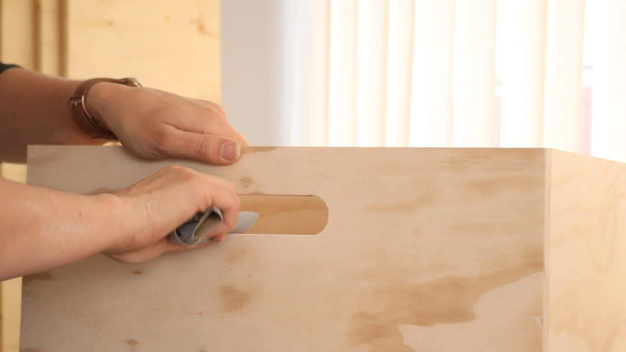 gently sanding handles