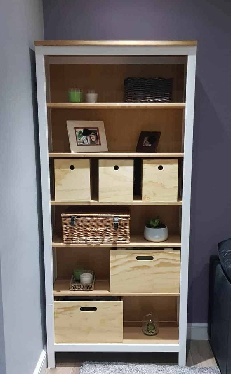 filing boxes and storage boxes in IKEA Hemnes bookcase