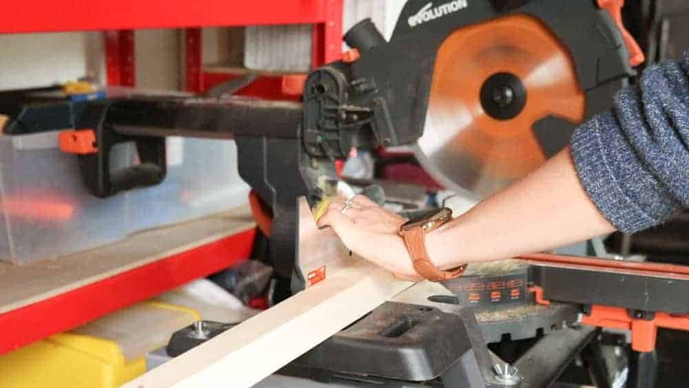 cutting battens with mitre saw