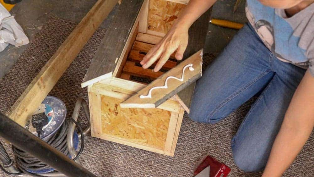 gluing mitred frame to planter