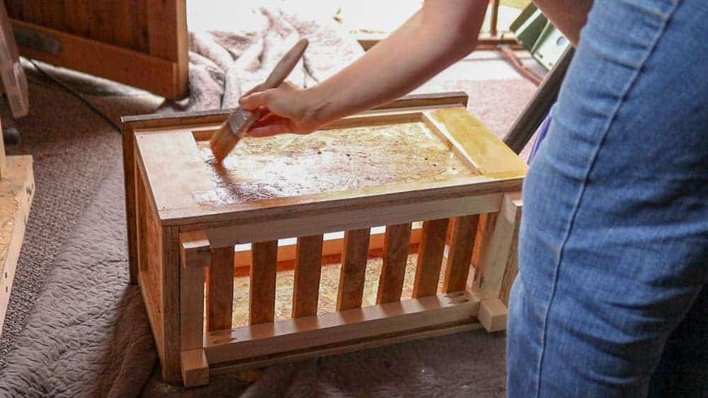 painting trellis planter with ducksback autumn gold