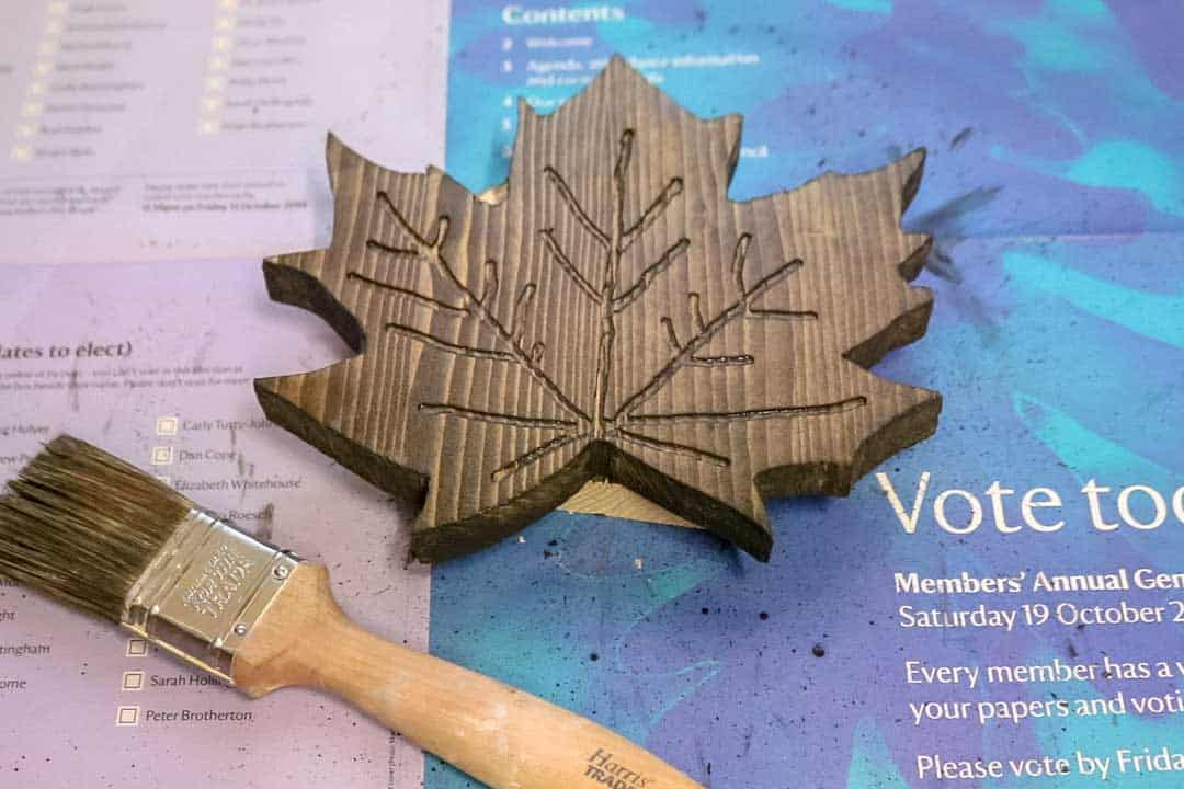 staining wooden maple leaf