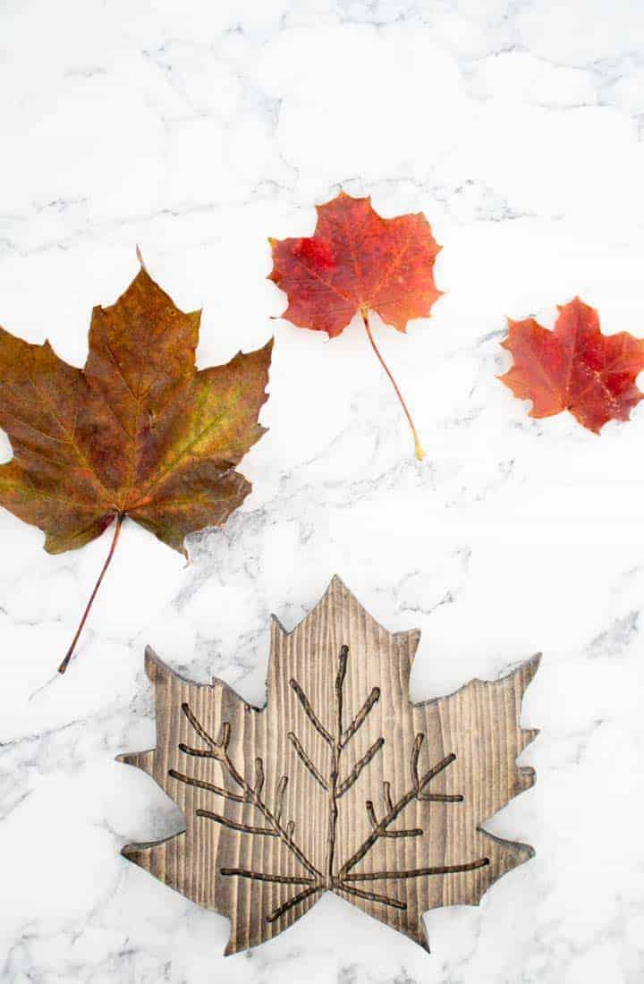 wooden maple leaf leaf against its original