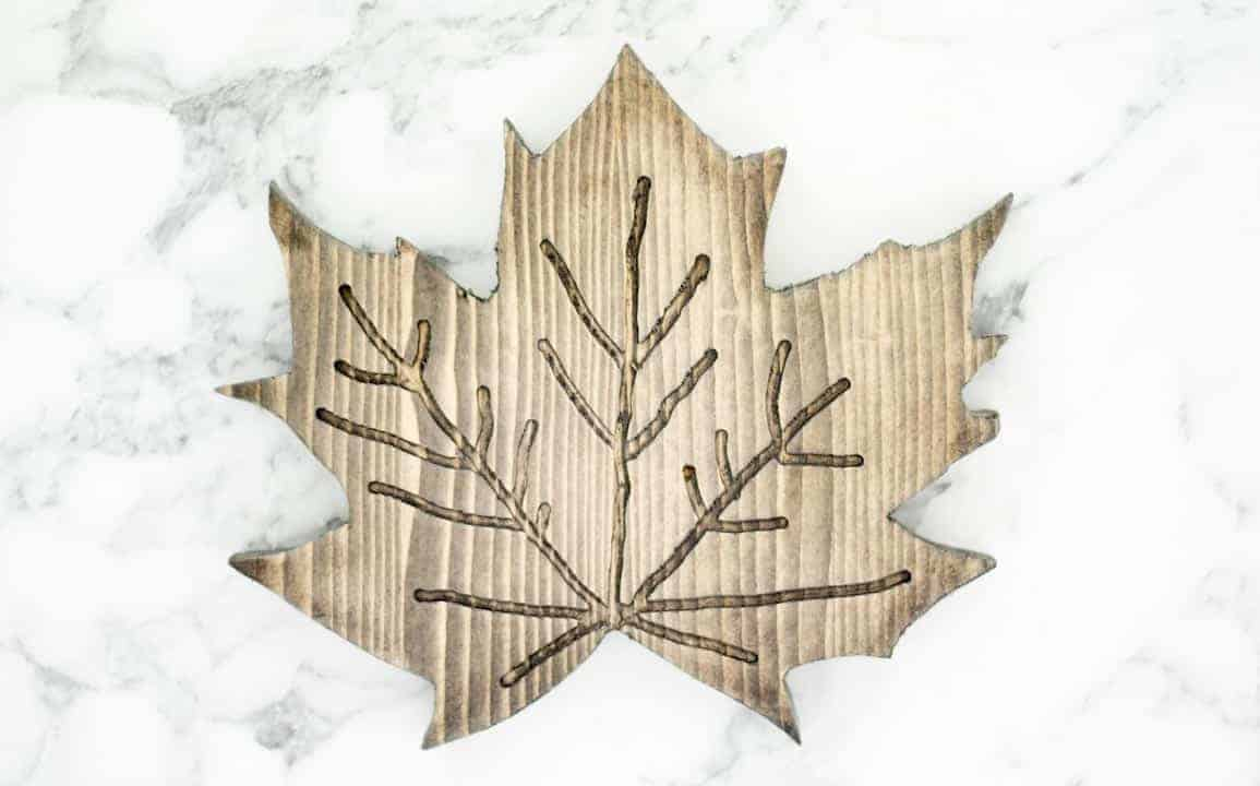 routered and stained pin aple leaf