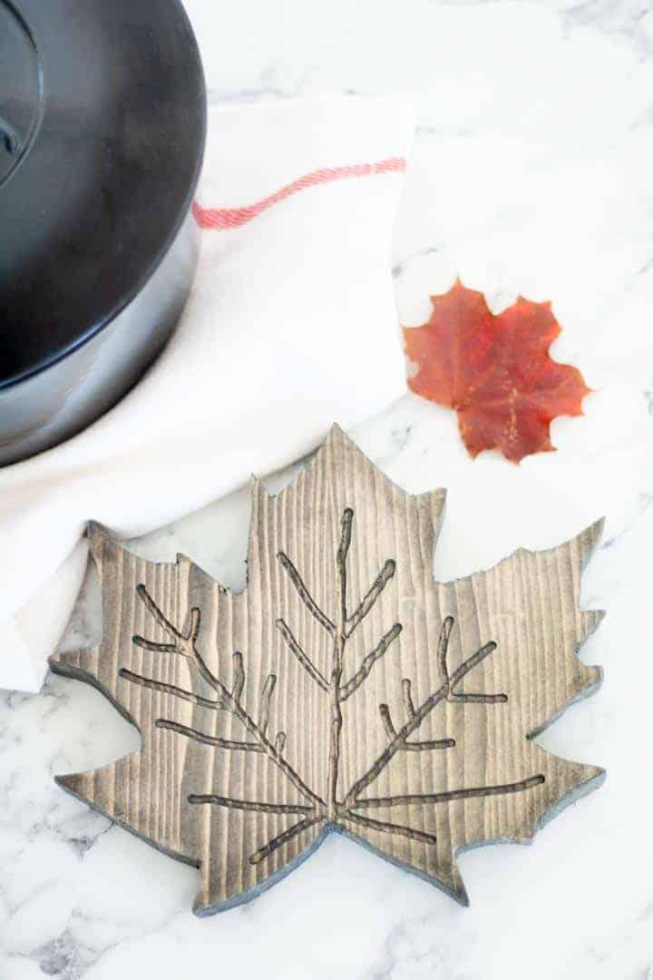 DIY Wooden Maple Leaf Trivet